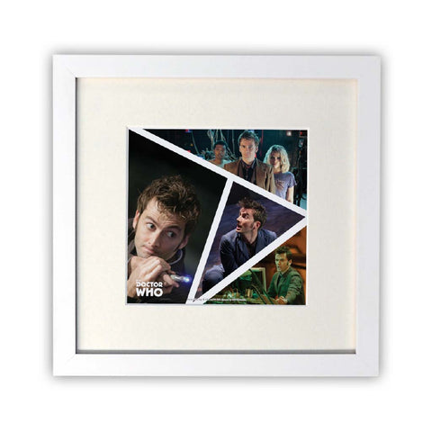 Tenth Doctor Photographic Square White Framed Print