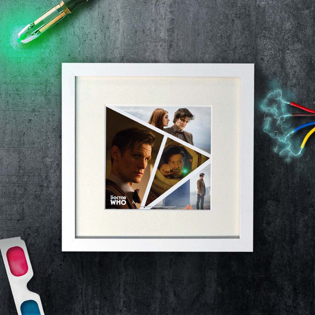 Eleventh Doctor Photographic Square White Framed Art Print (Lifestyle)