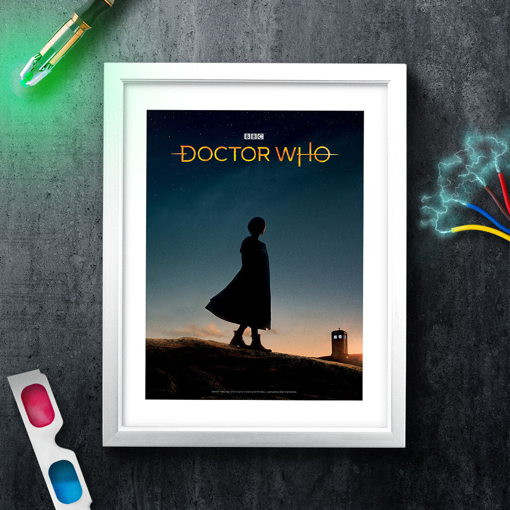 Thirteenth Doctor Photographic White Framed Art Print (Lifestyle)