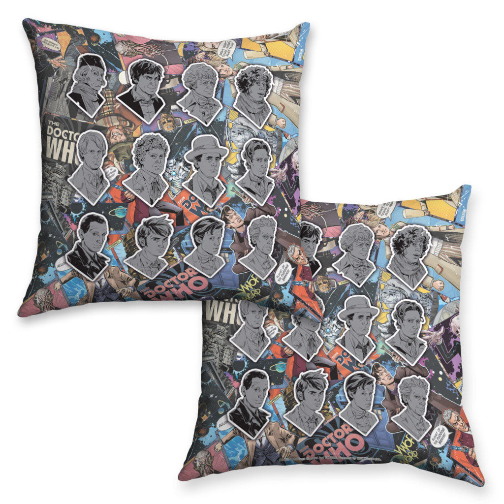 Twelve Doctors Comic Cushion