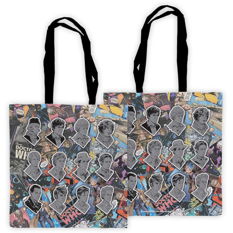 Twelve Doctors Comic Edge to Edge Tote