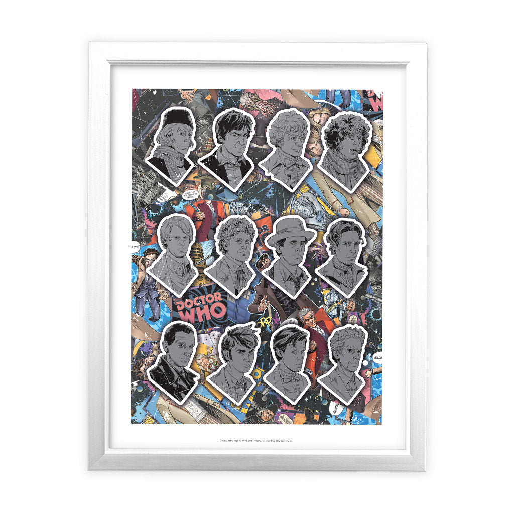 Twelve Doctors Comic White Framed Art Print