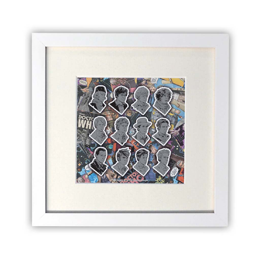 Twelve Doctors Comic Square White Framed Print