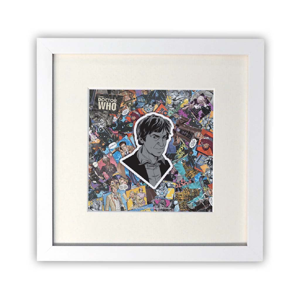 Second Doctor Comic Square White Framed Print