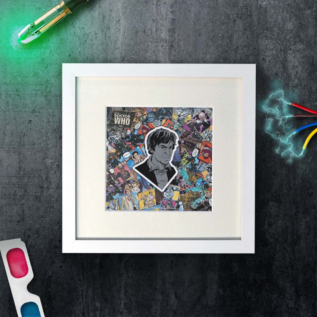 Second Doctor Comic Square White Framed Art Print (Lifestyle)