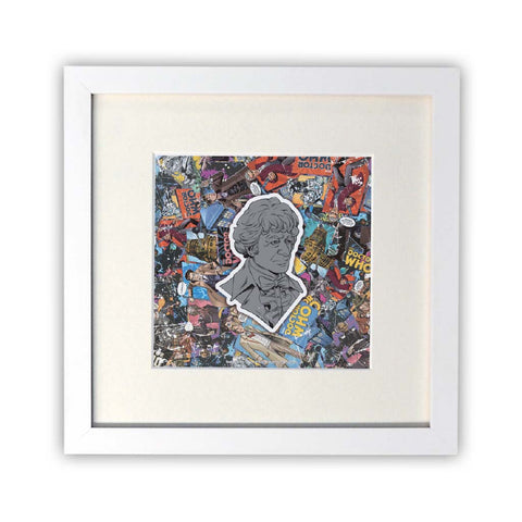 Third Doctor Comic Square White Framed Print