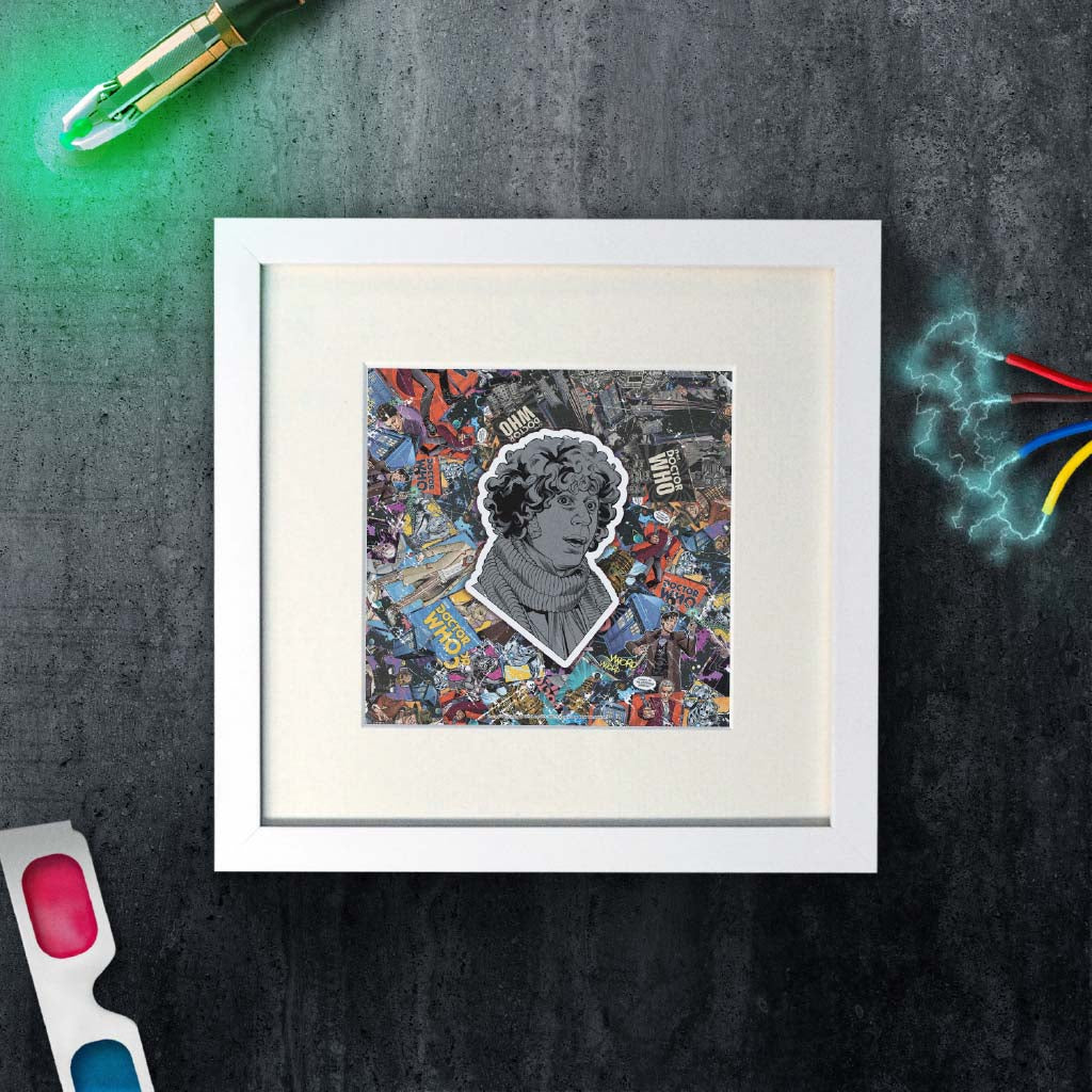 Fourth Doctor Comic Square White Framed Art Print (Lifestyle)
