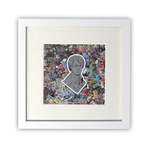 Fifth Doctor Comic Square White Framed Print