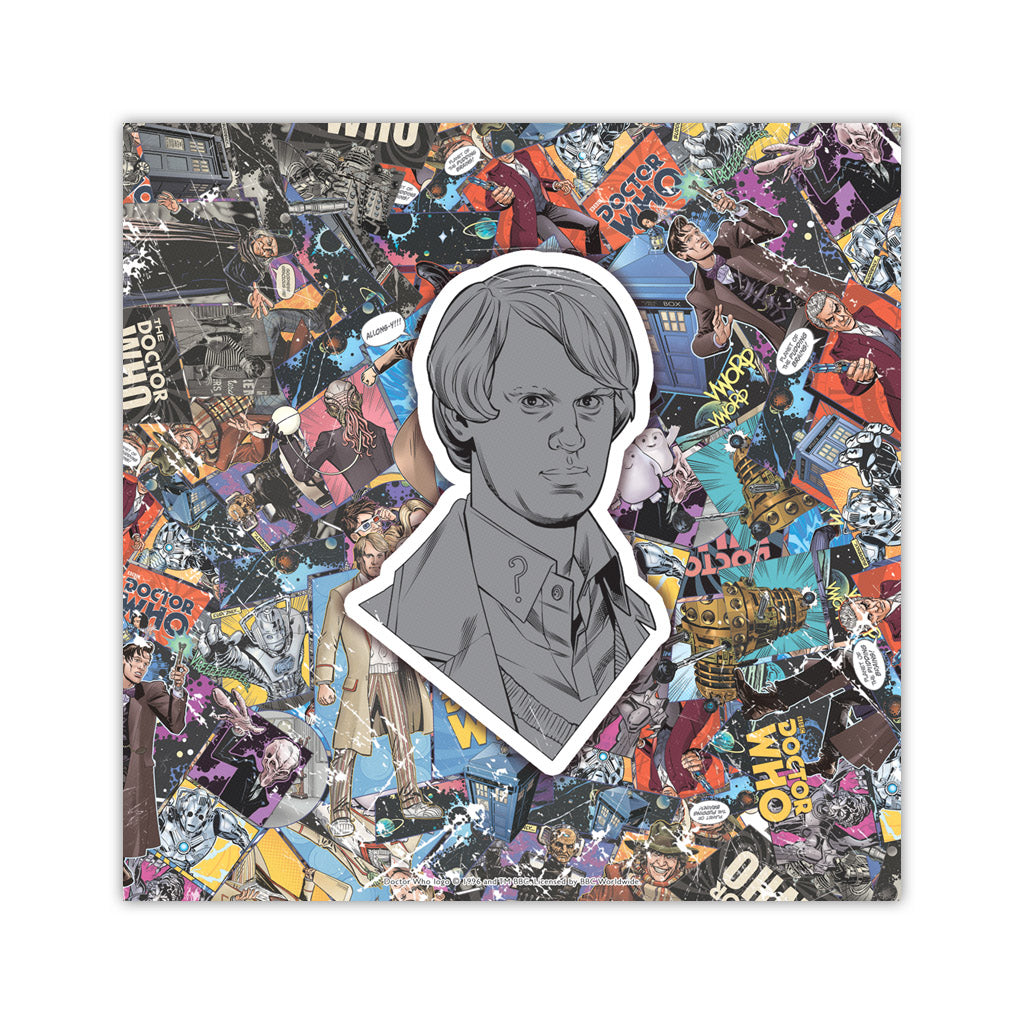 Fifth Doctor Comic Square Art Print