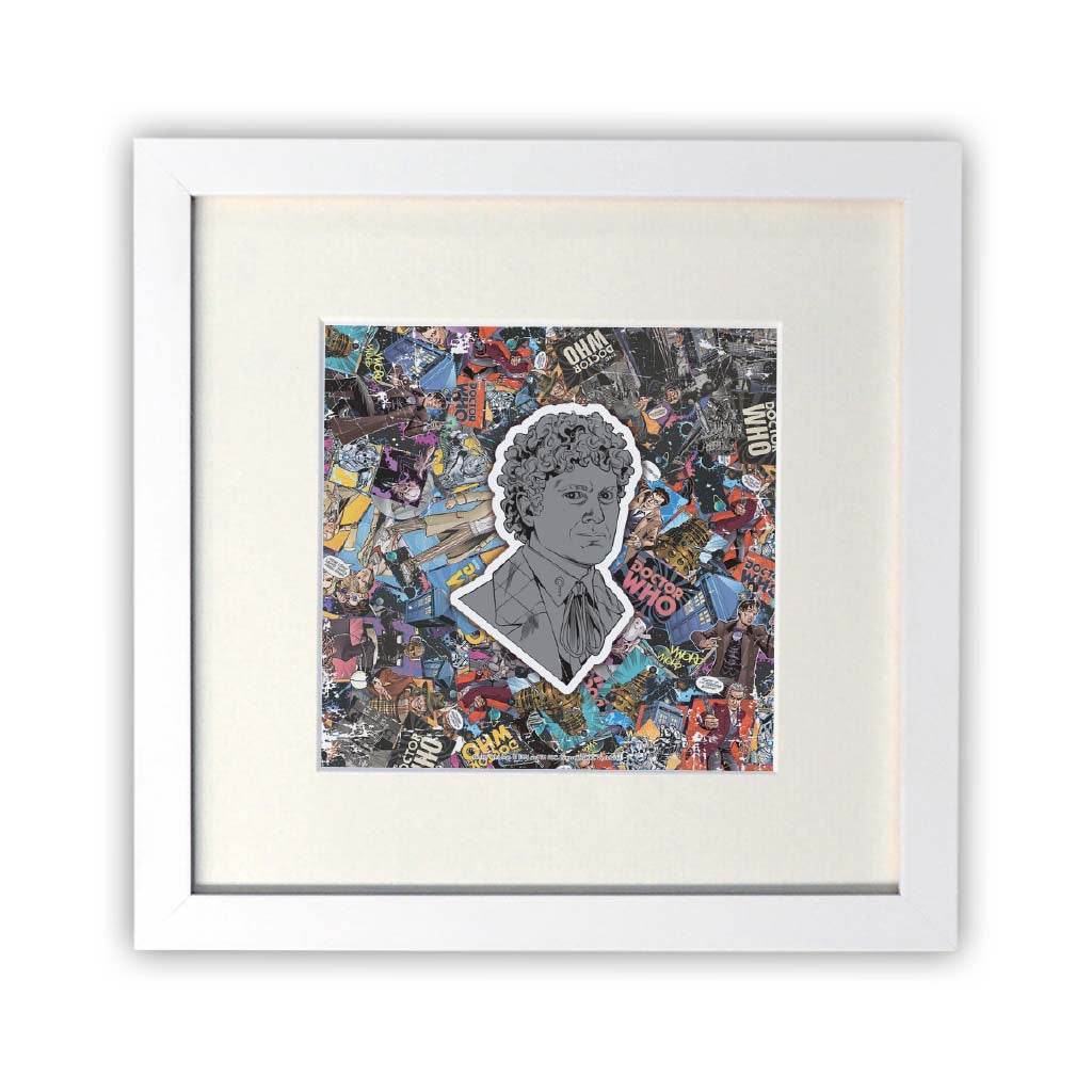 Sixth Doctor Comic Square White Framed Print