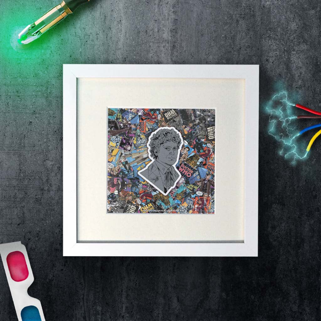 Sixth Doctor Comic Square White Framed Art Print (Lifestyle)