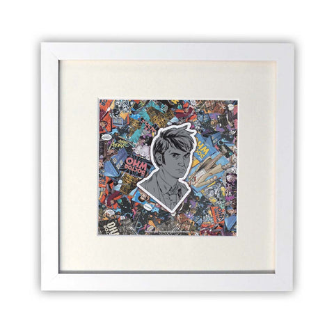 Tenth Doctor Comic Square White Framed Print