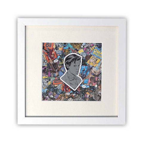 Eleventh Doctor Comic Square White Framed Print