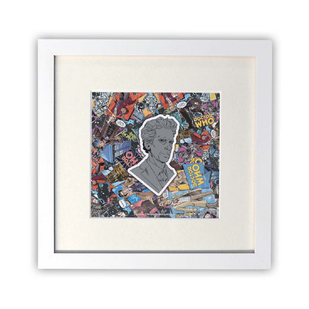 Twelfth Doctor Comic Square White Framed Print