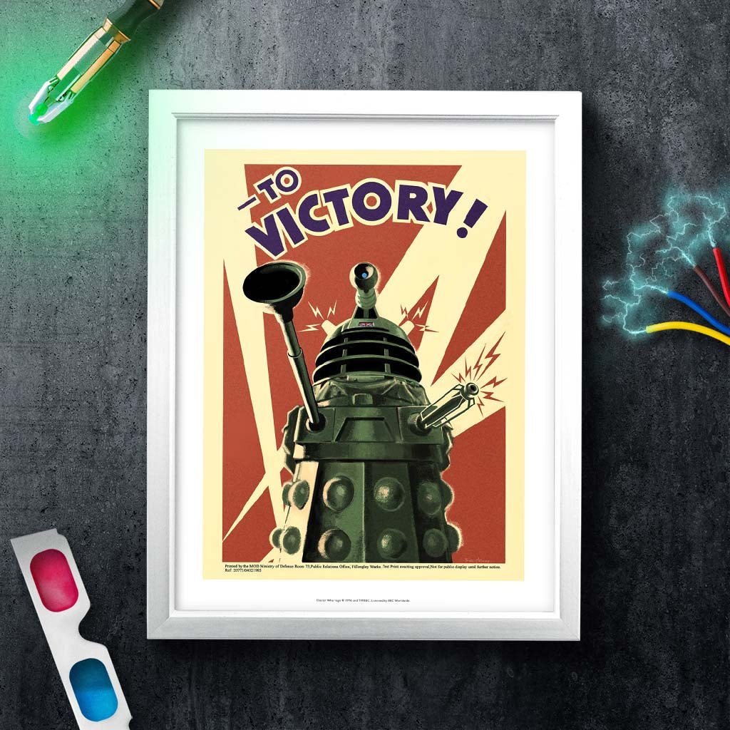 Dalek 'TO VICTORY!' White Framed Art Print (Lifestyle)