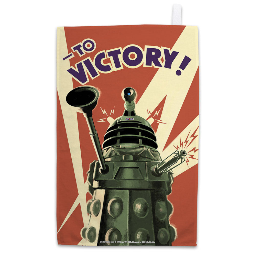 Dalek 'TO VICTORY!' Tea Towel