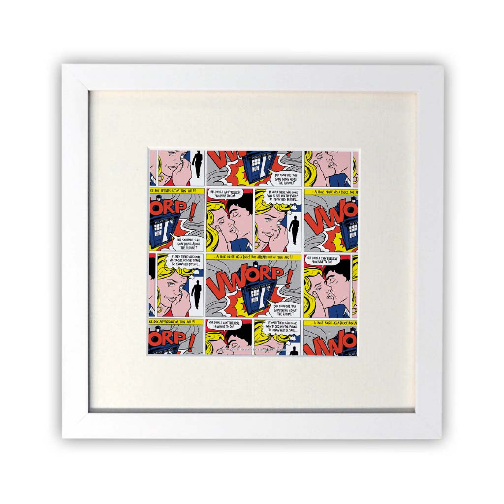 Tardis - Lichtenstein Square White Framed Print