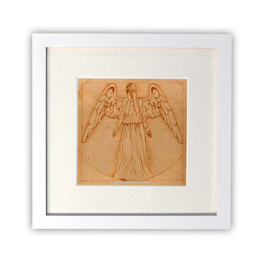 Weeping Angel - Da Vinci Square White Framed Print