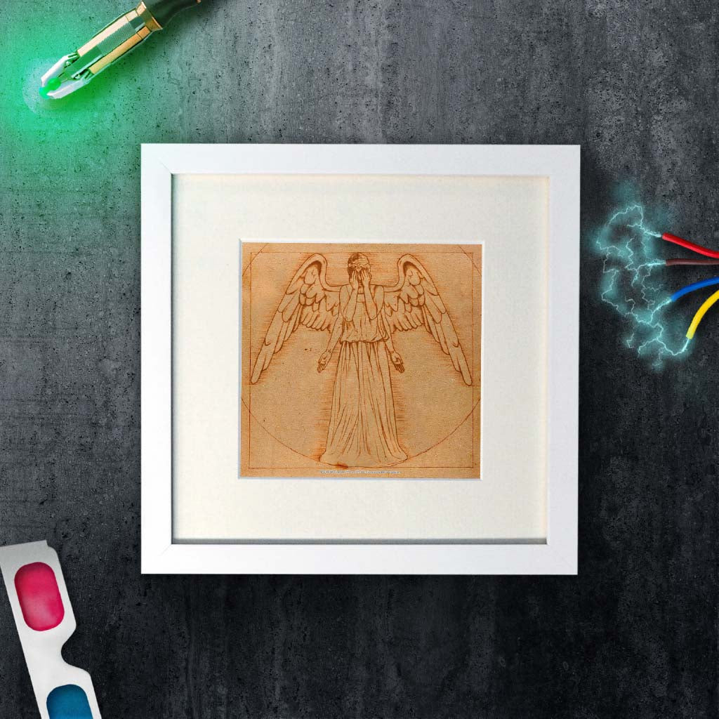 Weeping Angel - Da Vinci Square White Framed Art Print (Lifestyle)