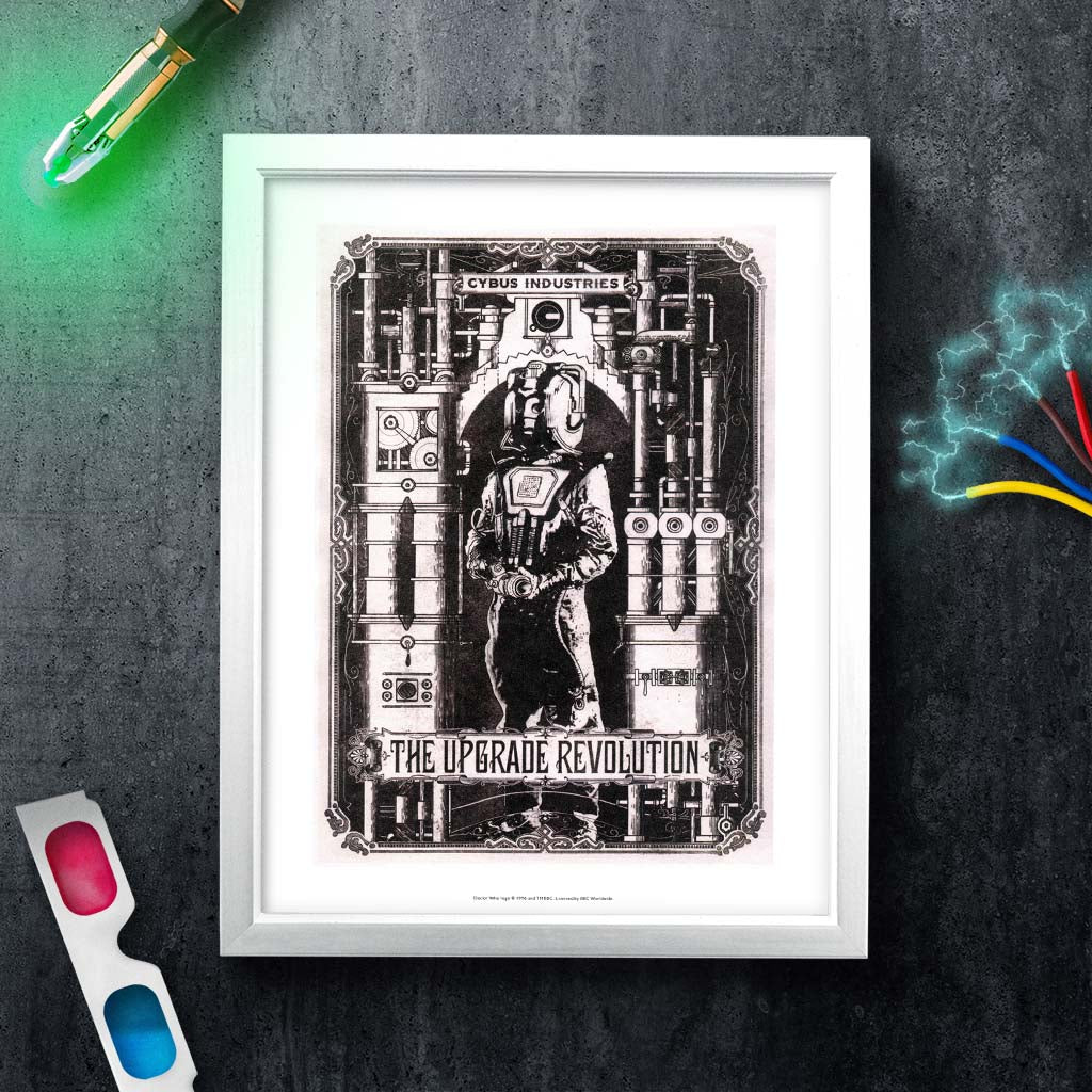 Cyberman 'THE UPGRADE REVOLUTION' White Framed Art Print (Lifestyle)