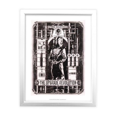 Cyberman 'THE UPGRADE REVOLUTION' White Framed Art Print