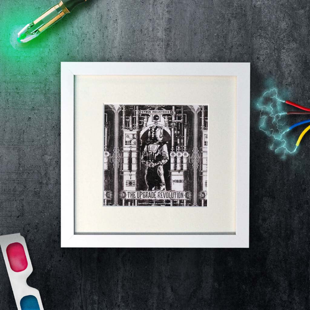 Cyberman 'THE UPGRADE REVOLUTION' Square White Framed Art Print (Lifestyle)