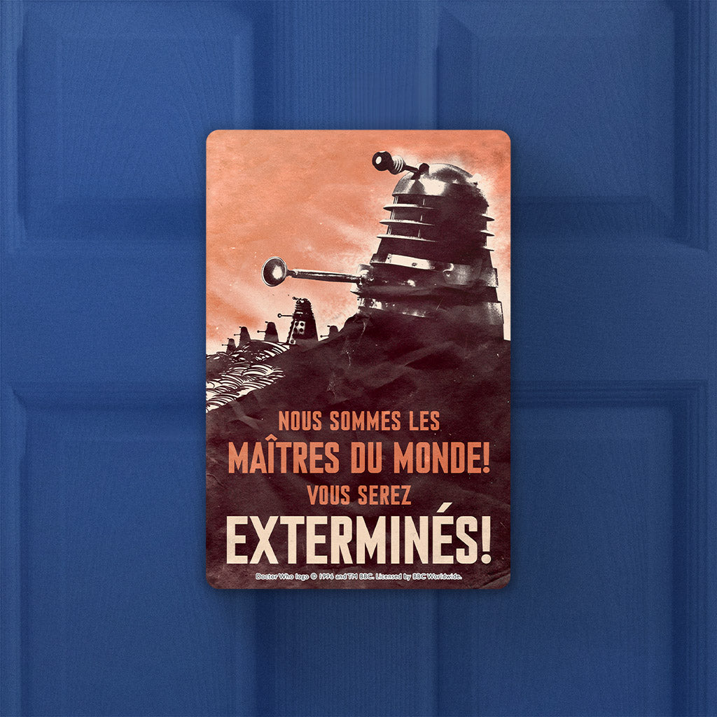 Dalek 'EXTERMINES!' Door Plaque (Lifestyle)