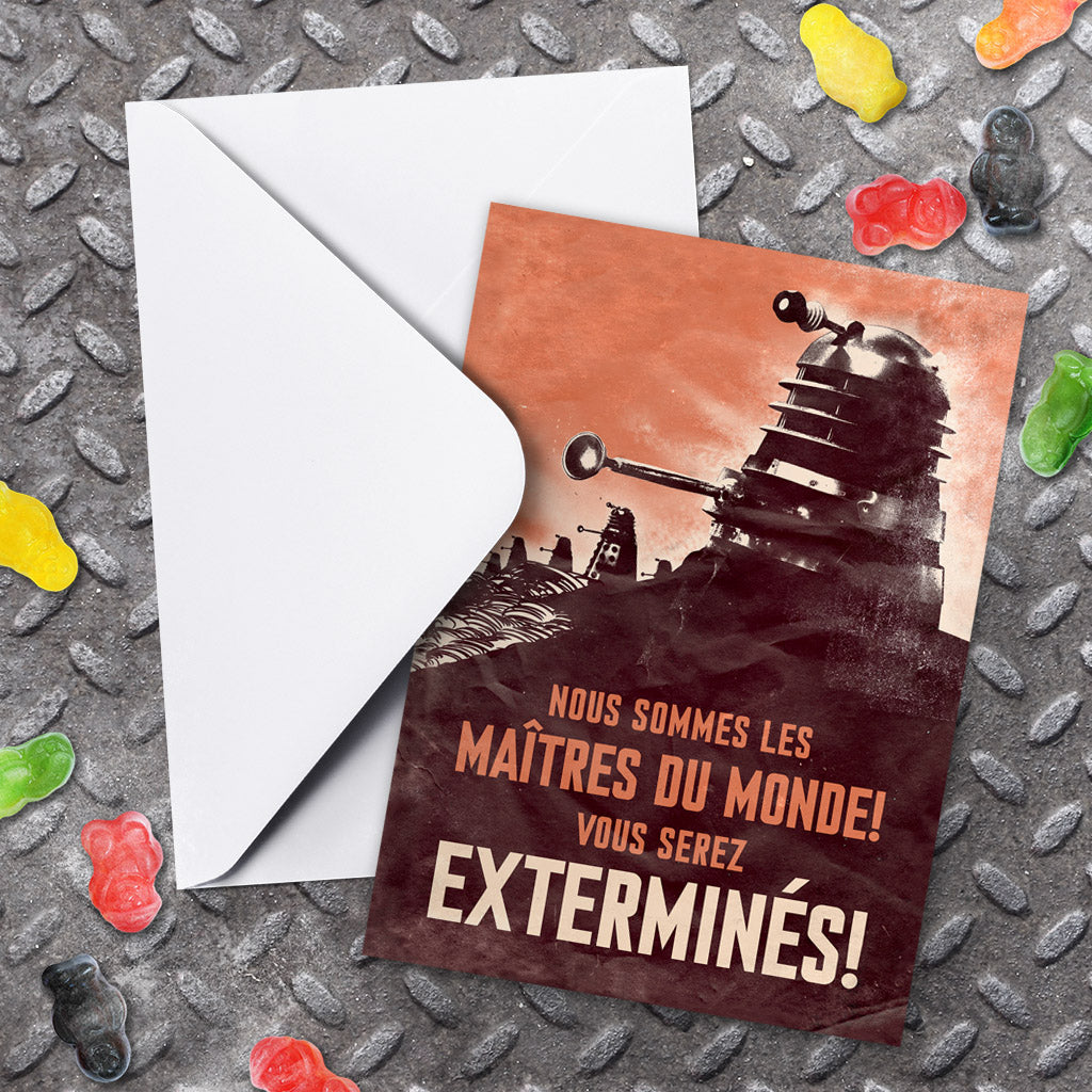 Dalek 'EXTERMINES!' Greeting Card (Lifestyle)
