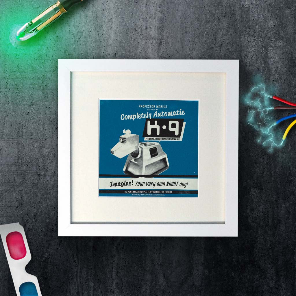 K9 'Your Very Own Robot Dog!' Square White Framed Art Print (Lifestyle)