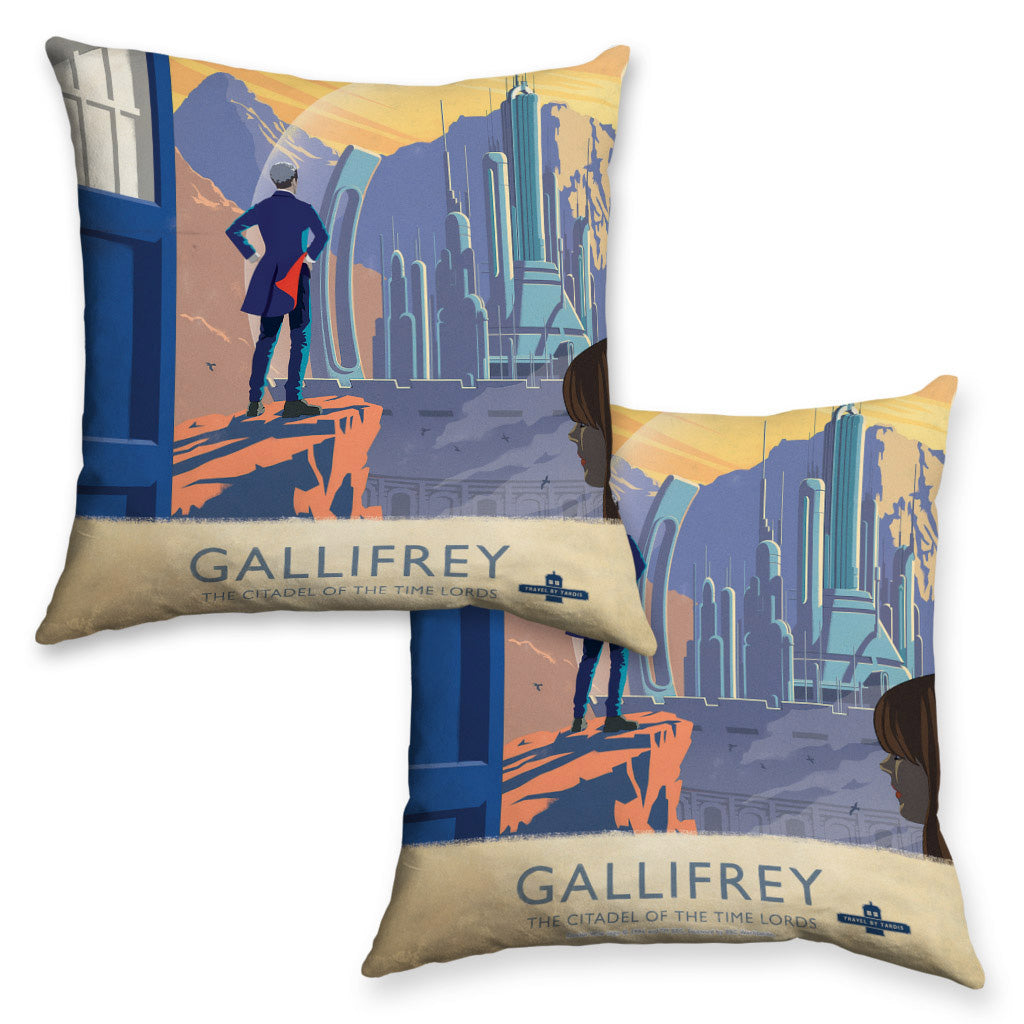 Gallifrey Travel Poster Cushion