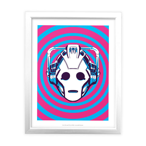 Gridlock Cyberman White Framed Art Print