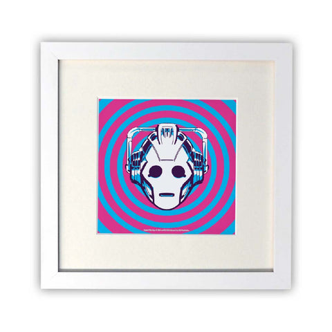 Gridlock Cyberman Square White Framed Print