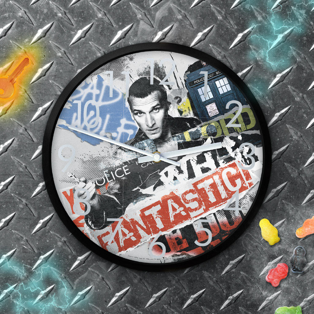 Ninth Doctor Collage Clock