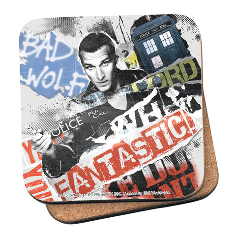 Ninth Doctor Collage Coaster