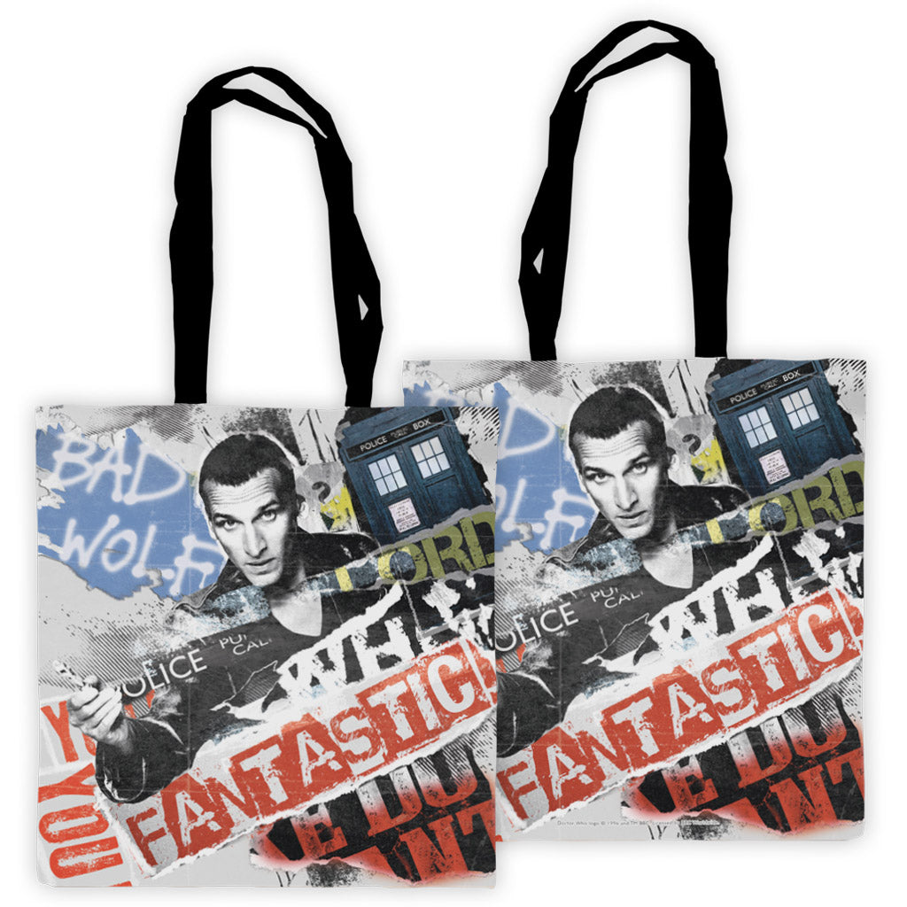 Ninth Doctor Collage Edge to Edge Tote