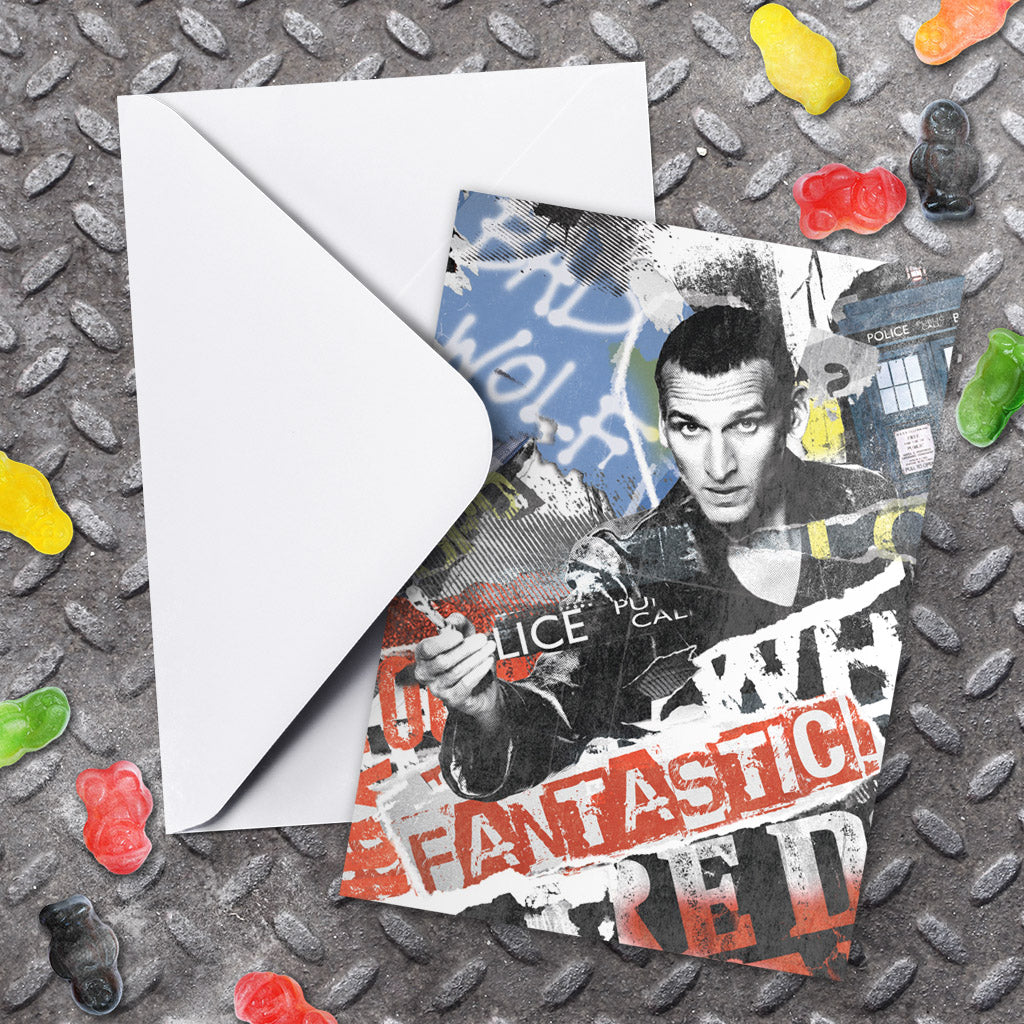 Ninth Doctor Collage Greeting Card (Lifestyle)