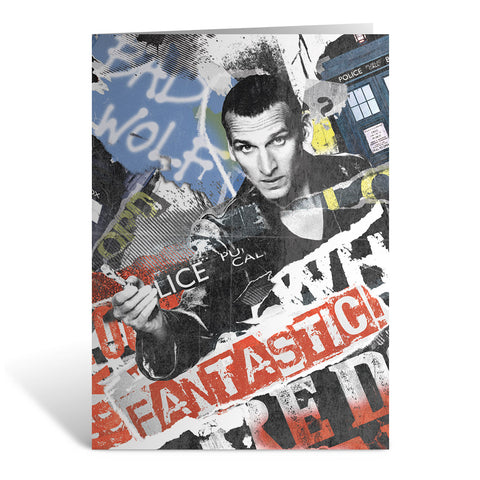 Ninth Doctor Collage Greeting Card