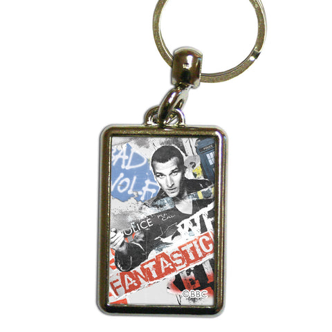 Ninth Doctor Collage Metal Keyring