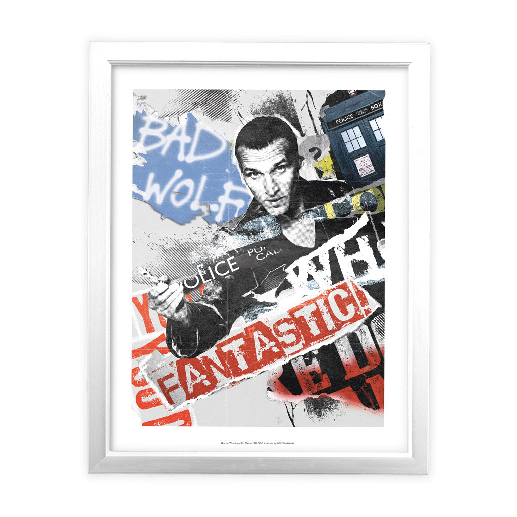 Ninth Doctor Collage White Framed Art Print