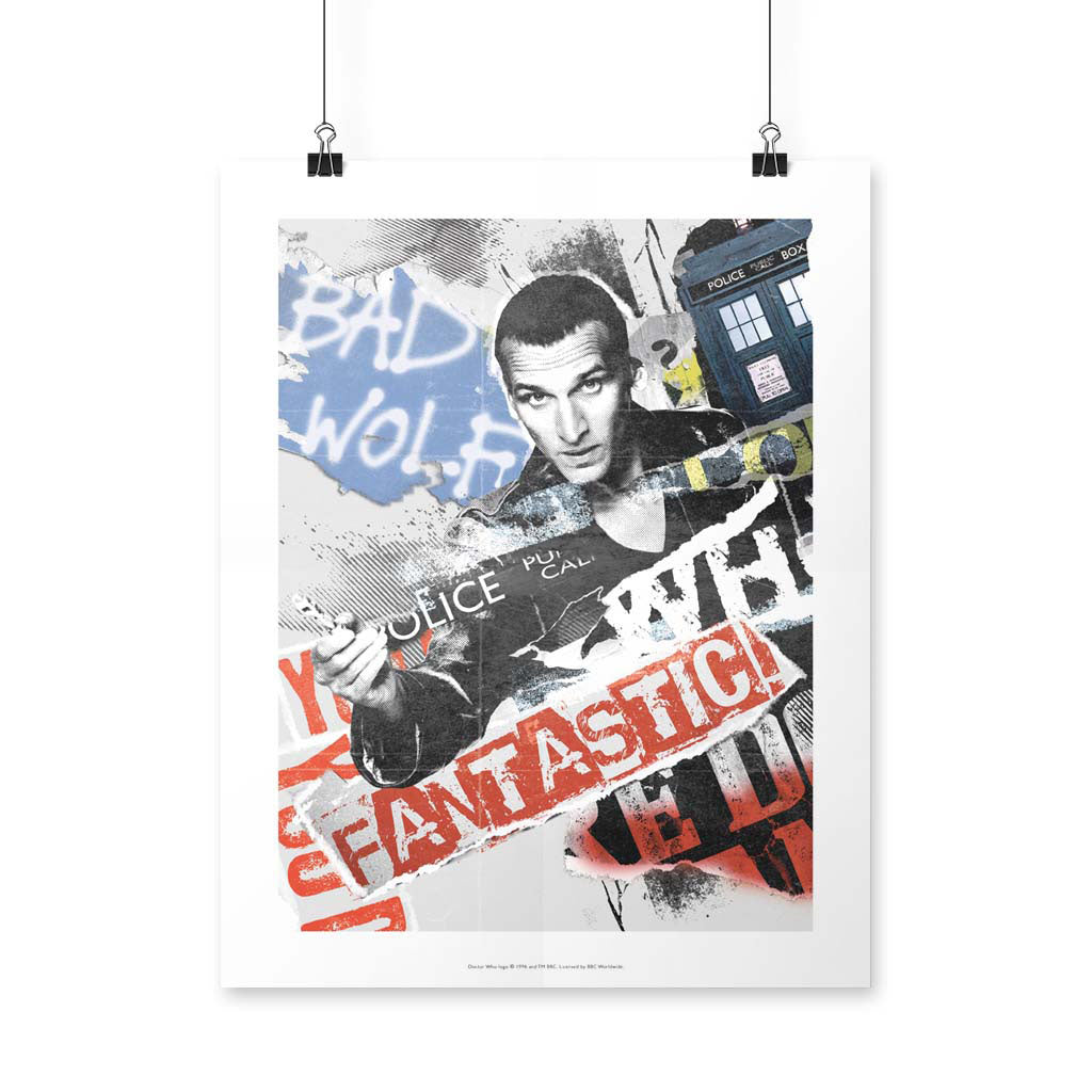 Ninth Doctor Collage Art Print