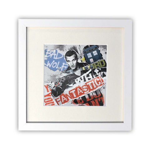 Ninth Doctor Collage Square White Framed Print