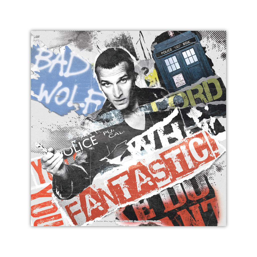 Ninth Doctor Collage Square Art Print