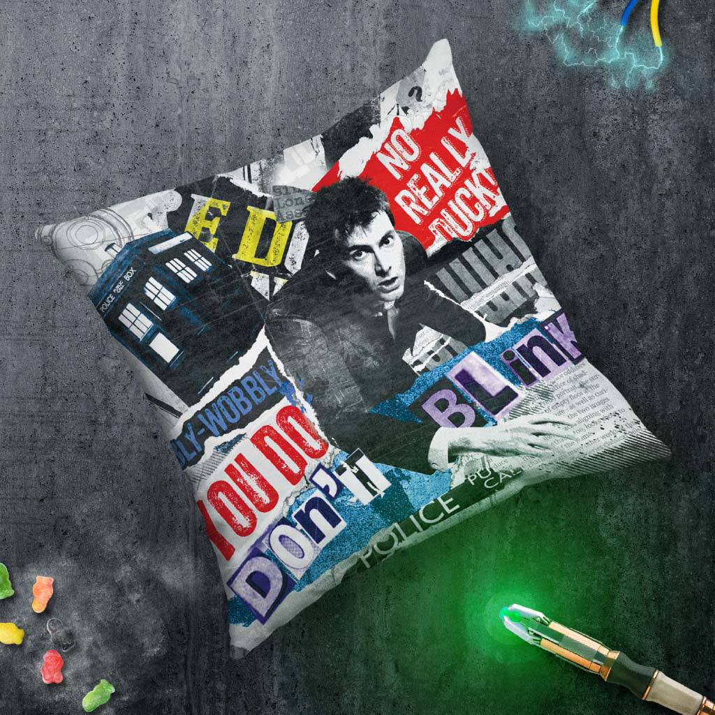 Tenth Doctor Collage Cushion (Lifestyle)