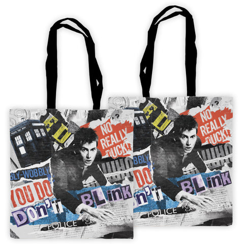 Tenth Doctor Collage Edge to Edge Tote
