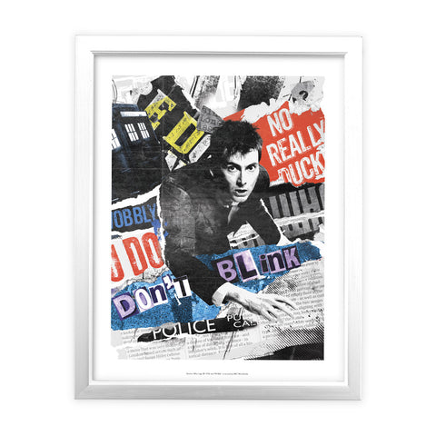 Tenth Doctor Collage White Framed Art Print