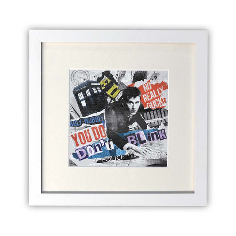 Tenth Doctor Collage Square White Framed Print