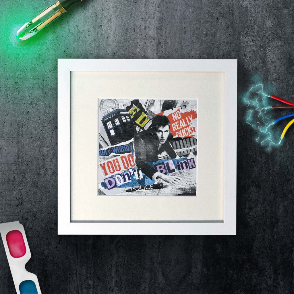 Tenth Doctor Collage Square White Framed Art Print (Lifestyle)