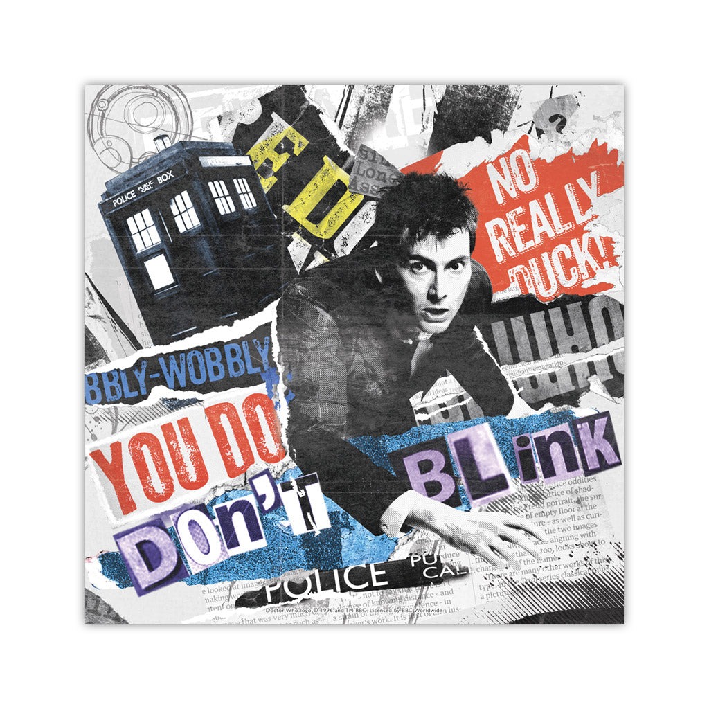 Tenth Doctor Collage Square Art Print