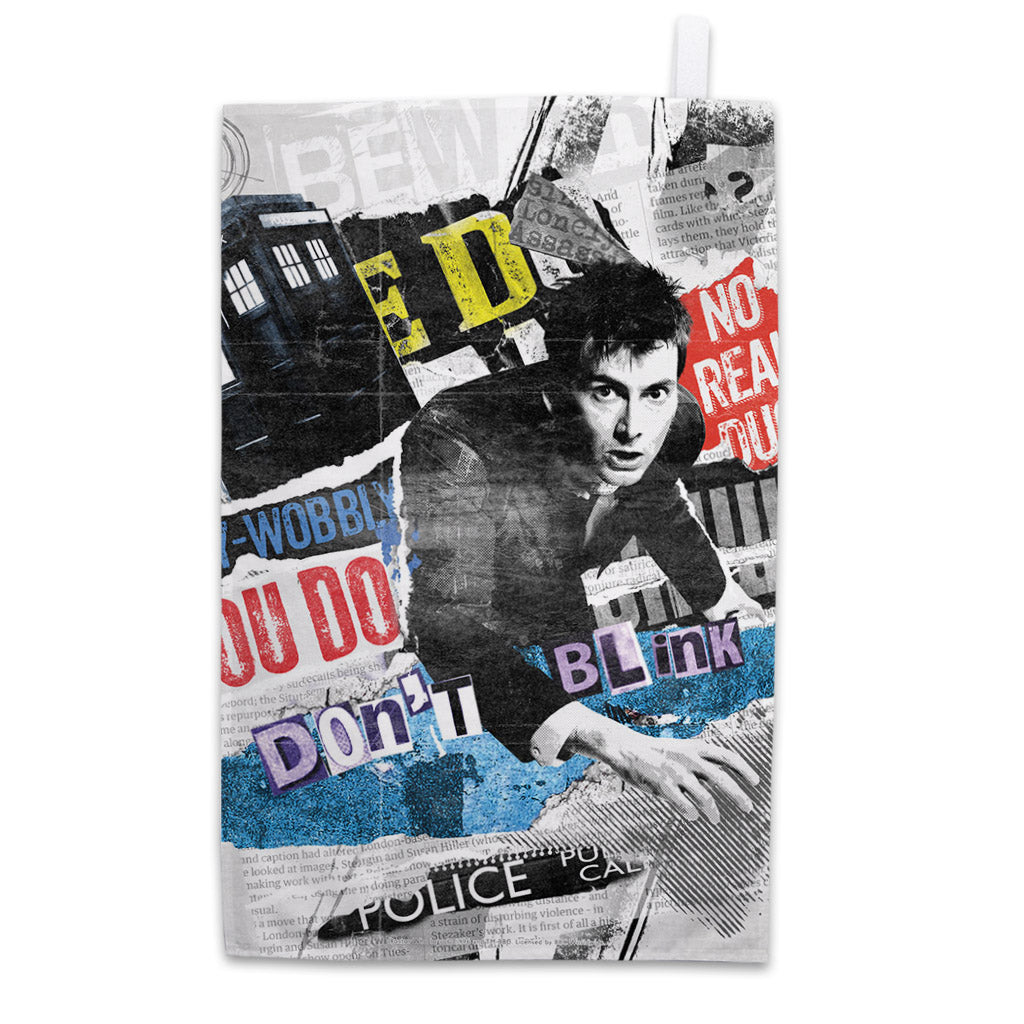 Tenth Doctor Collage Tea Towel