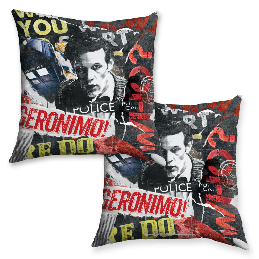 Eleventh Doctor Collage Cushion